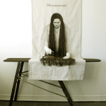 """The improvement"" - vintage ironing board, vintage iron, hand-dyed twine, air-dry clay, graphite, raw canvas , 84x59x30 cm, 2012"