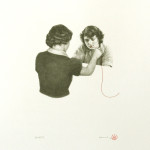 """Secrets"" - graphite, thread on paper, 40x50 cm, 2013 - Private collection"