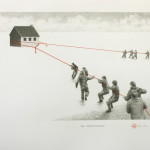 """The resettlement"" - Graphite, thread on paper, 22x30 inches, 2010 - Private collection"