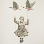 """Flight of fancy"" - Graphite, thread on paper, 19x15 inches, 2014"