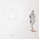 """""""Attachments"""" - graphite, watercolour, thread on paper, 40x50 cm, 2013. Private collection"""