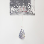 """The pursuit of happiness"" - graphite, watercolour, thread, hook on paper, 50x70 cm, 2012 - Private collection"