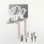 """""""The rescue"""" - graphite, watercolour on paper, 40x50 cm, 2010"""