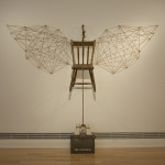"""The ascending"" - Air-dry clay, rope, vintage hook, twine, found chair, found metal box, paint , dimensions variable, 2012"