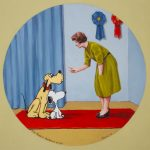 """Miss Peggy's obedience school"", oil on panel, 12x12 inches, 2020 - Available at Arcadia Contemporary, Pasadena CA, USA - http://www.arcadiacontemporary.com"