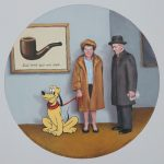 """Rene and Georgette Magritte with their dog apres la guerre"", oil on panel, 12x12 inches, 2020 - Available at Arcadia Contemporary, Pasadena CA, USA - http://www.arcadiacontemporary.com"